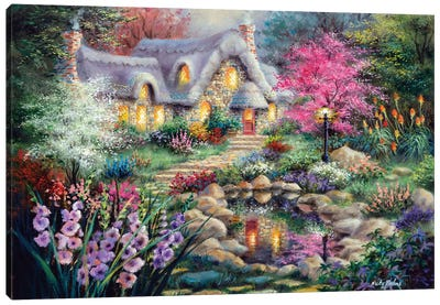 Cottage Pond Canvas Art Print