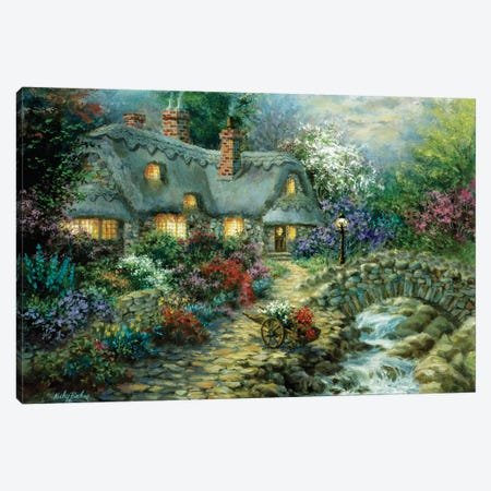 Country Cottage Canvas Print #BOE39} by Nicky Boehme Canvas Art Print