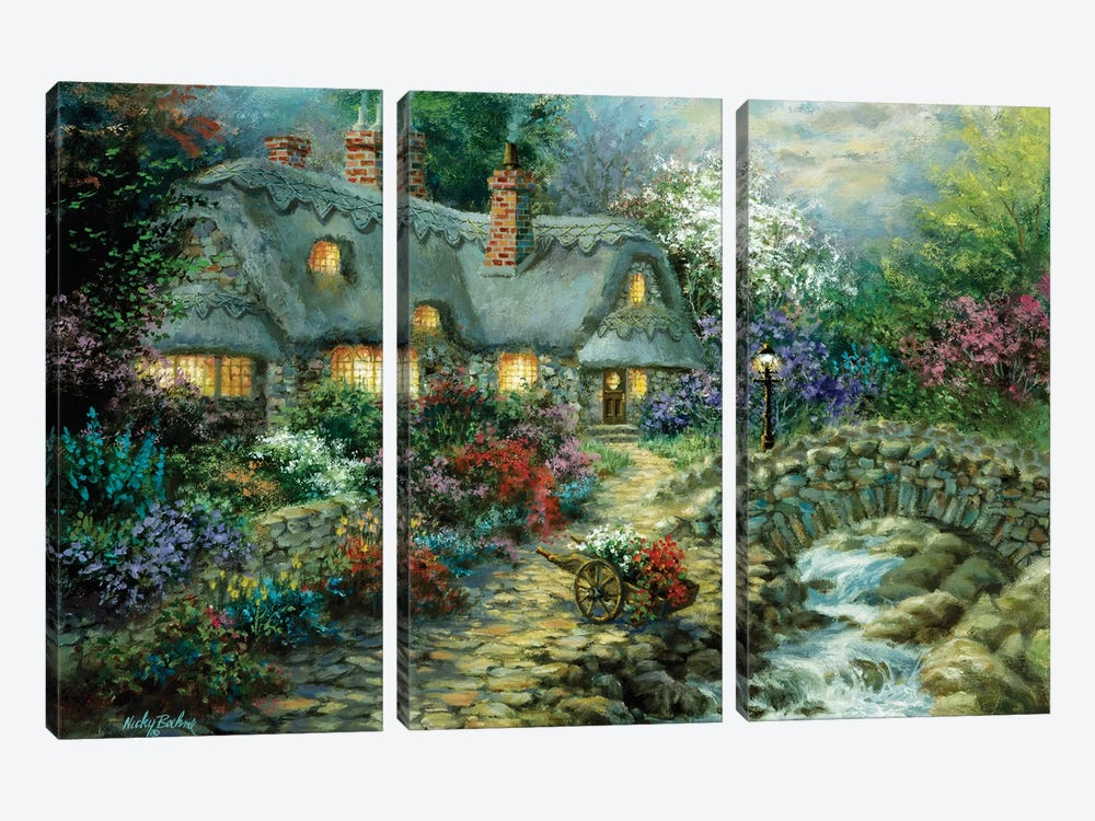 Country Cottage 3-piece Canvas Art Print