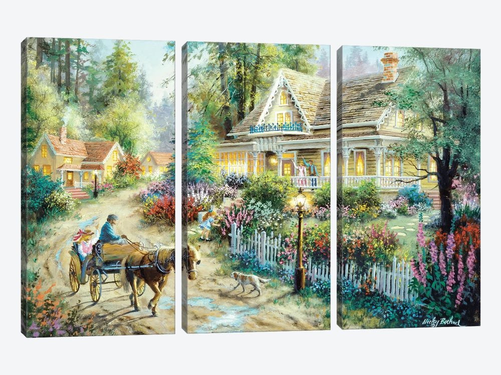 A Country Greeting 3-piece Canvas Art Print