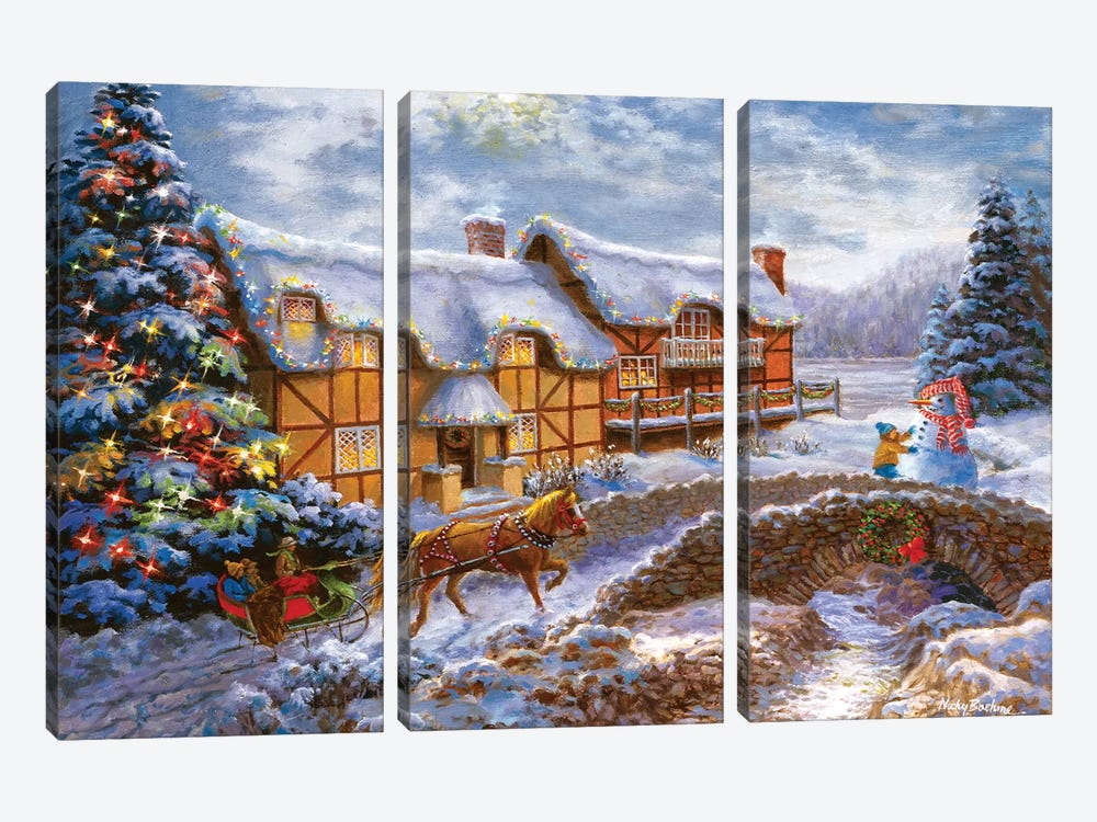 Country Cottages by Nicky Boehme 3-piece Canvas Print