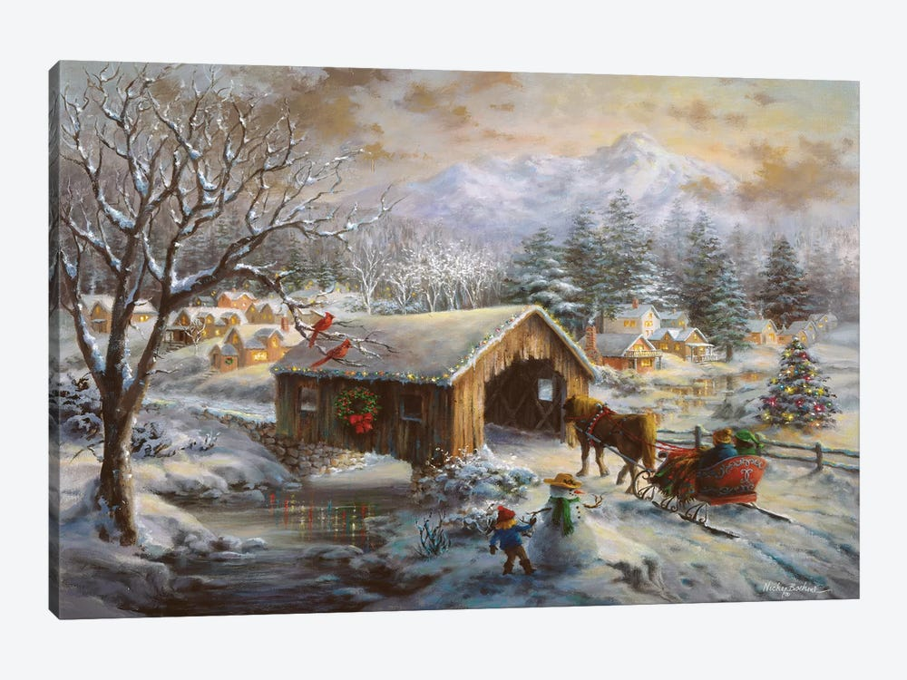 Covered Bridge by Nicky Boehme 1-piece Canvas Artwork