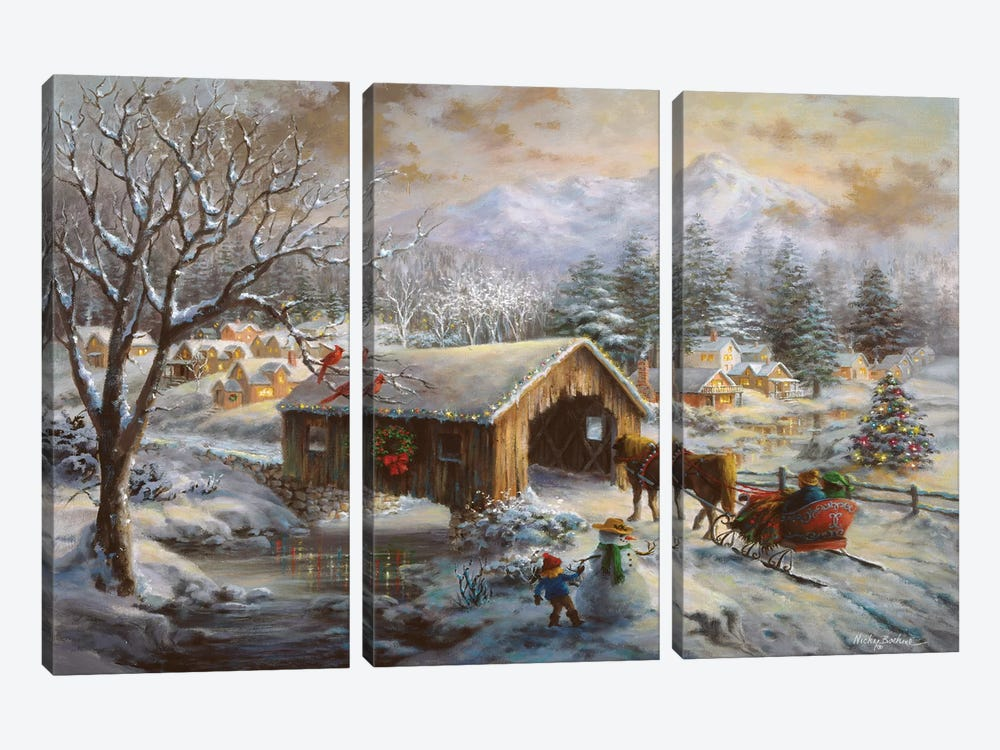 Covered Bridge by Nicky Boehme 3-piece Canvas Wall Art