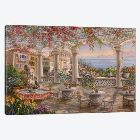 Dining On The Terrace Canvas Print #BOE49} by Nicky Boehme Canvas Artwork
