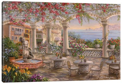 Dining On The Terrace Canvas Art Print