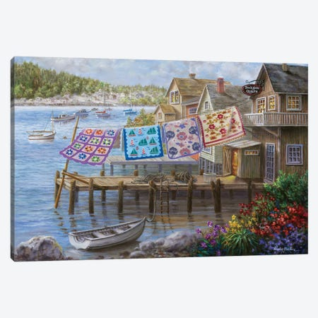 Dock Side Quilts Canvas Print #BOE50} by Nicky Boehme Canvas Print