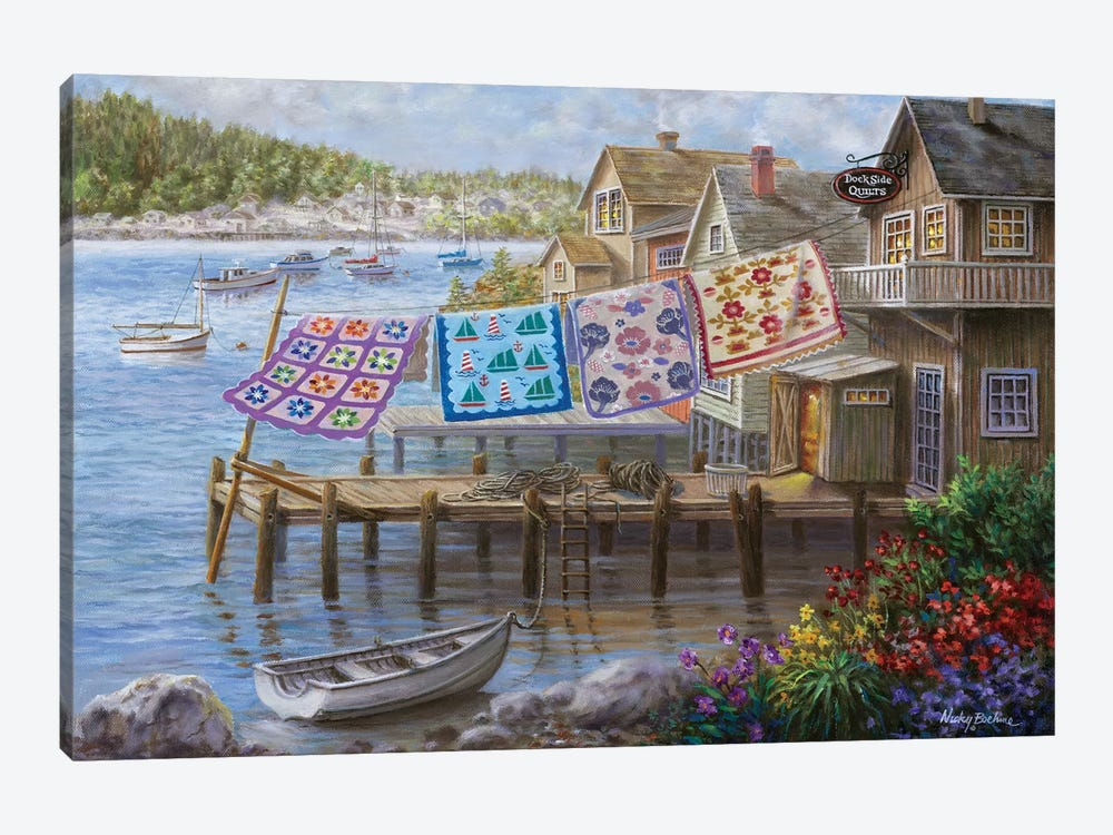 Dock Side Quilts by Nicky Boehme 1-piece Canvas Wall Art