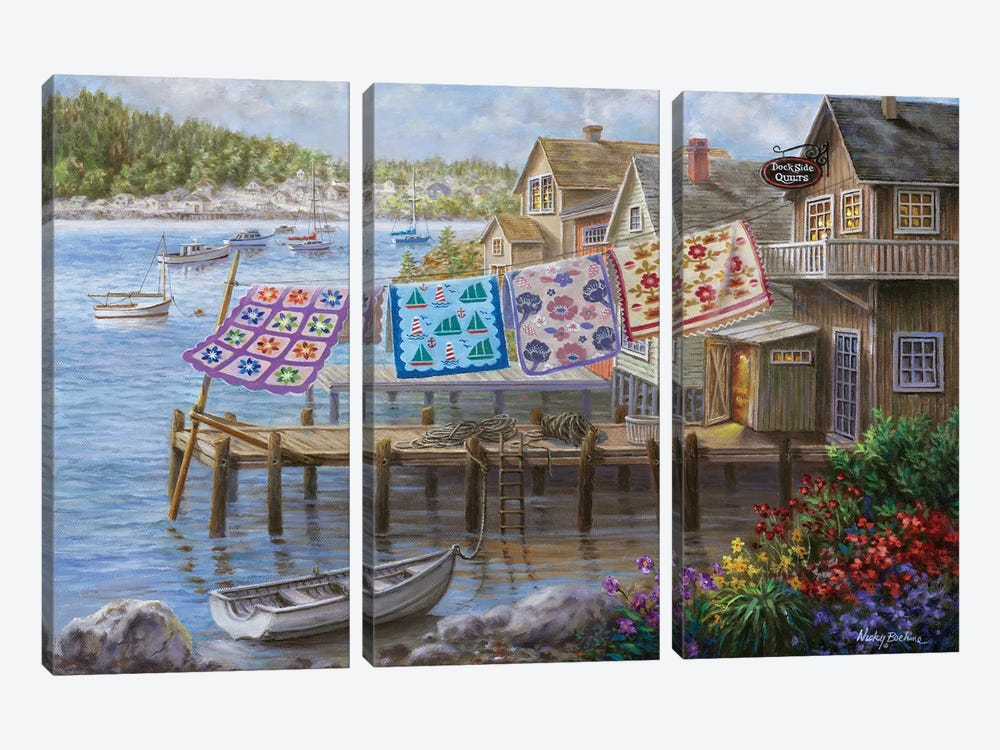Dock Side Quilts by Nicky Boehme 3-piece Canvas Art