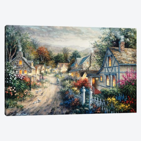 Down Cottage Lane Canvas Print #BOE52} by Nicky Boehme Canvas Print