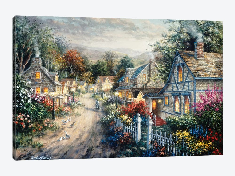 Down Cottage Lane by Nicky Boehme 1-piece Canvas Art