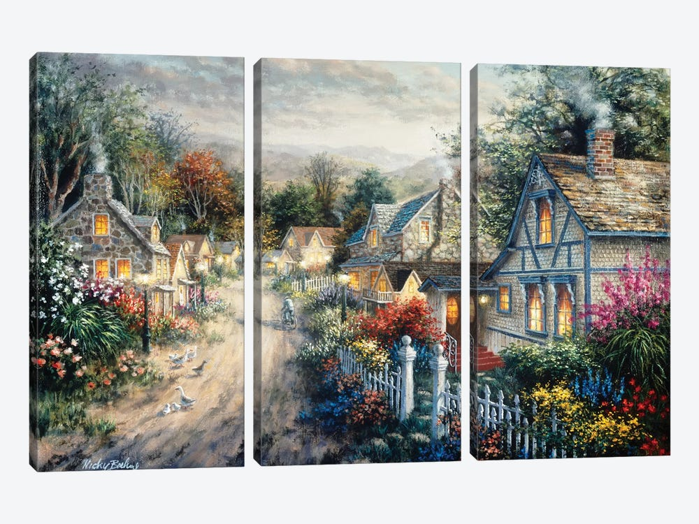 Down Cottage Lane by Nicky Boehme 3-piece Canvas Wall Art