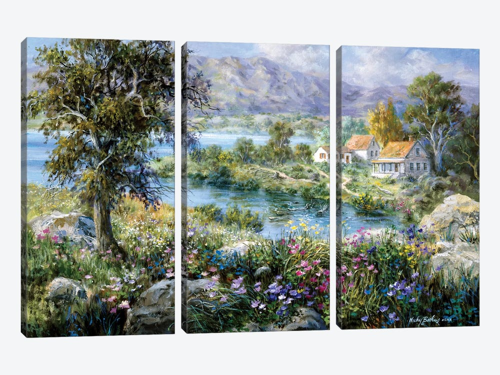 Enchanted Cottage by Nicky Boehme 3-piece Canvas Print