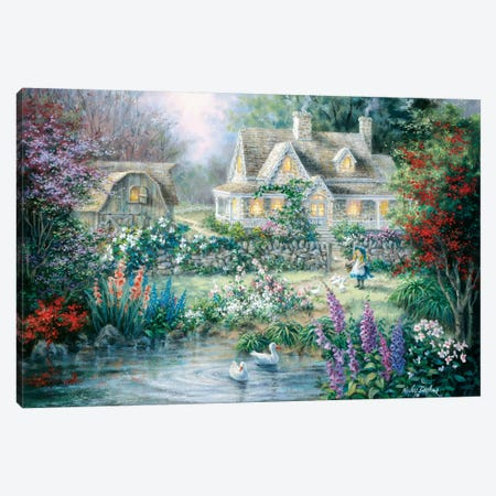 Feeding Geese Canvas Print #BOE56} by Nicky Boehme Canvas Artwork