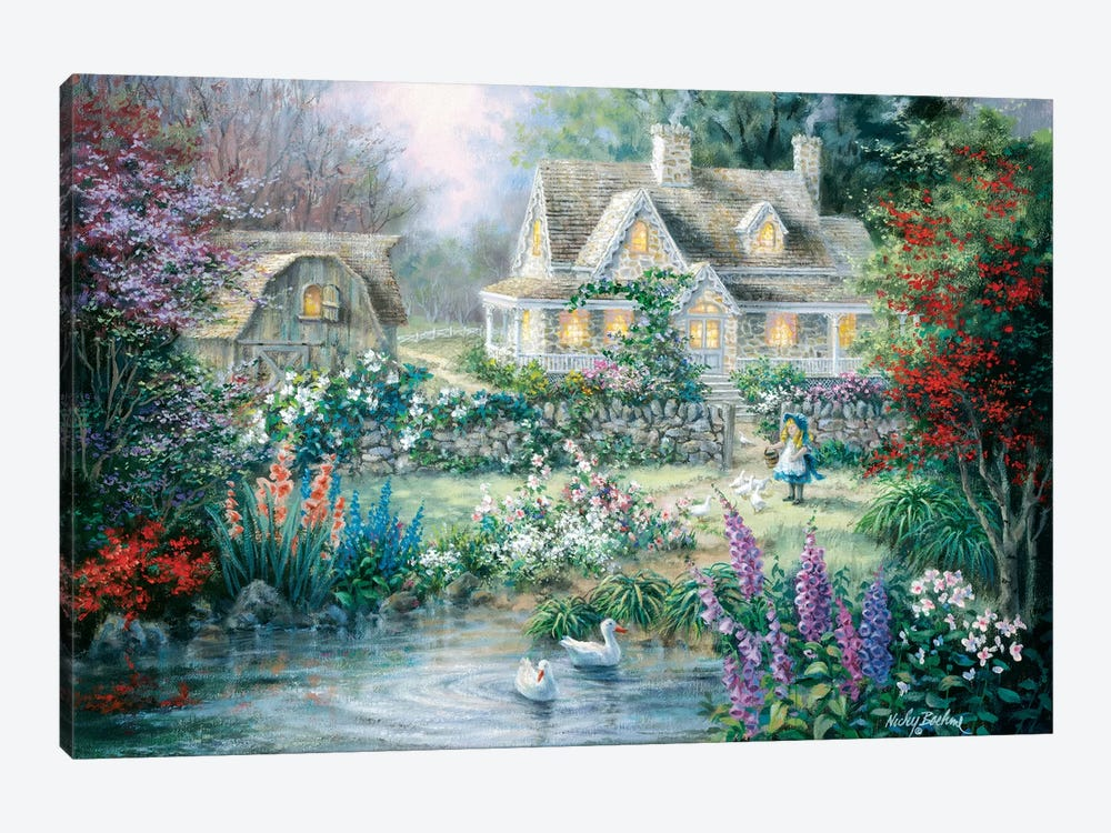 Feeding Geese by Nicky Boehme 1-piece Canvas Artwork
