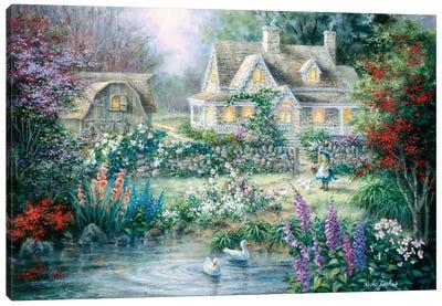 Feeding Geese Canvas Art Print