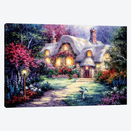 Garden Cottage Canvas Print #BOE61} by Nicky Boehme Canvas Artwork