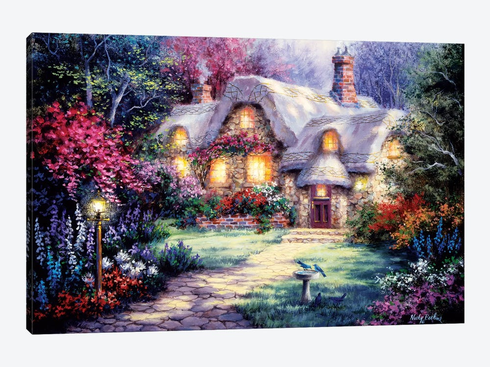 Garden Cottage by Nicky Boehme 1-piece Canvas Wall Art