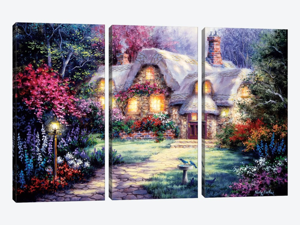 Garden Cottage by Nicky Boehme 3-piece Canvas Art