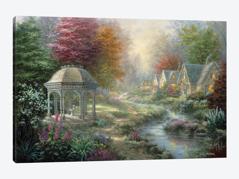 Gazebo Village 1-piece Canvas Print