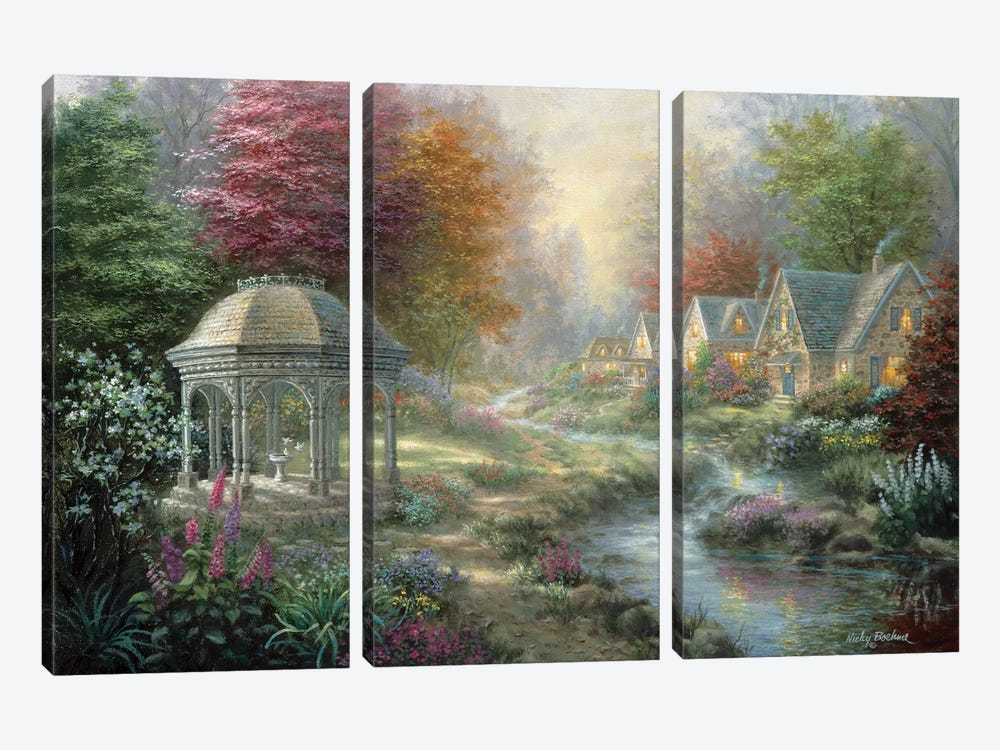 Gazebo Village by Nicky Boehme 3-piece Canvas Art Print