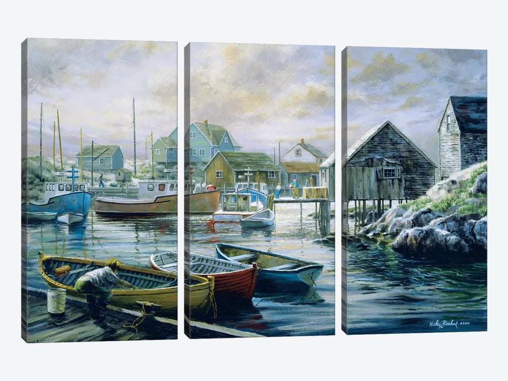 Good Catch For A Lazy Day by Nicky Boehme 3-piece Canvas Art Print