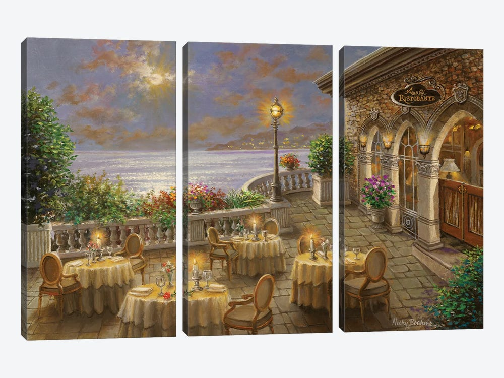 A Romantic Dining Invitation by Nicky Boehme 3-piece Canvas Artwork