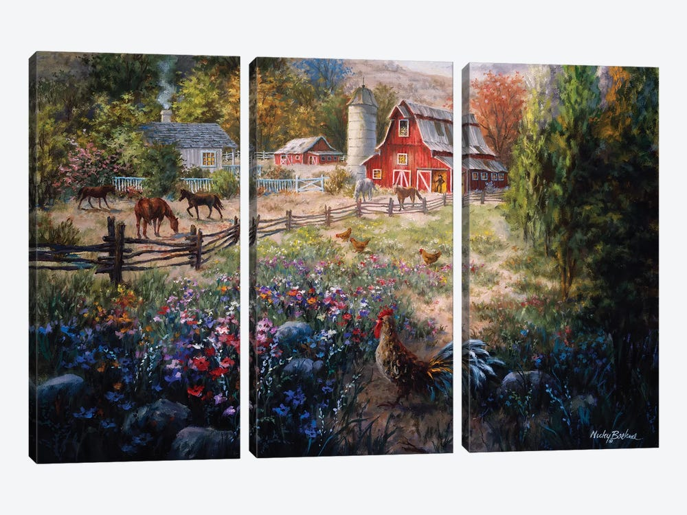 Grazing The Fertile Farmland 3-piece Art Print