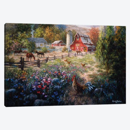 Grazing The Fertile Farmland 3-Piece Canvas #BOE71} by Nicky Boehme Art Print