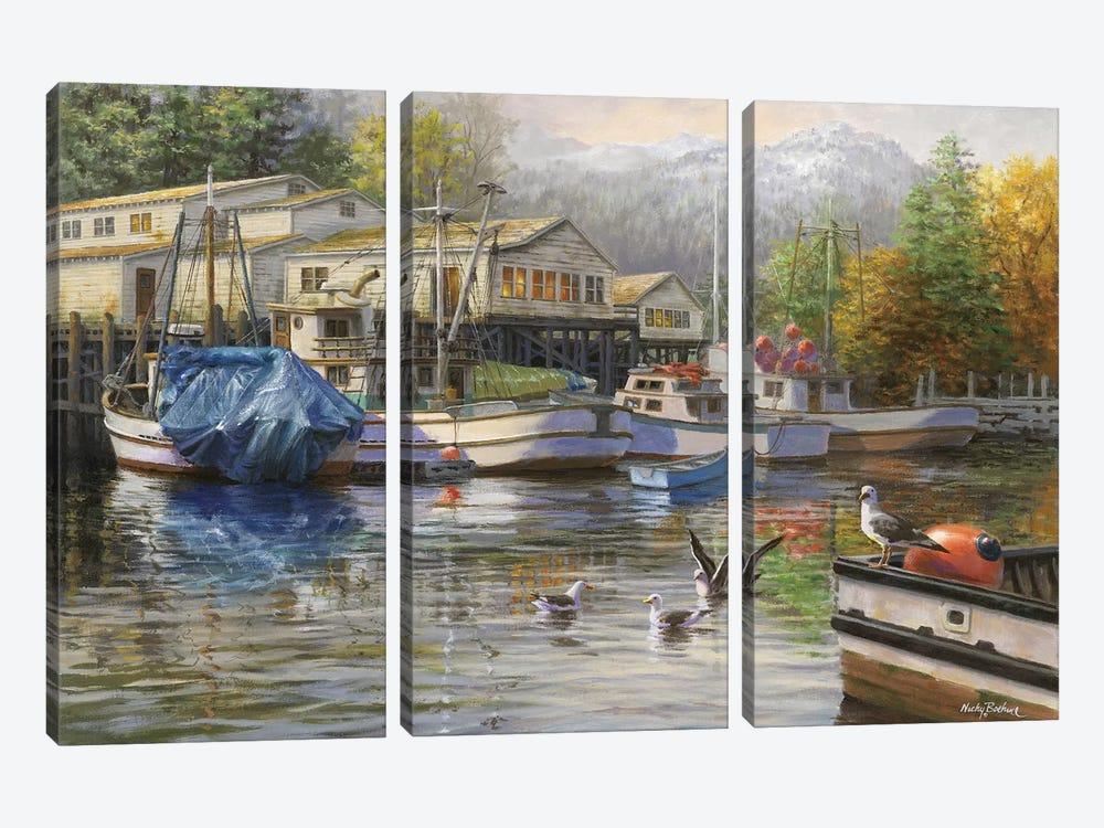Gulls At The Marina by Nicky Boehme 3-piece Canvas Artwork