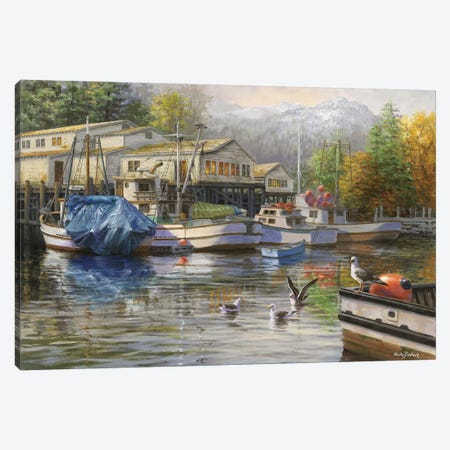 Gulls At The Marina Canvas Print #BOE74} by Nicky Boehme Canvas Art