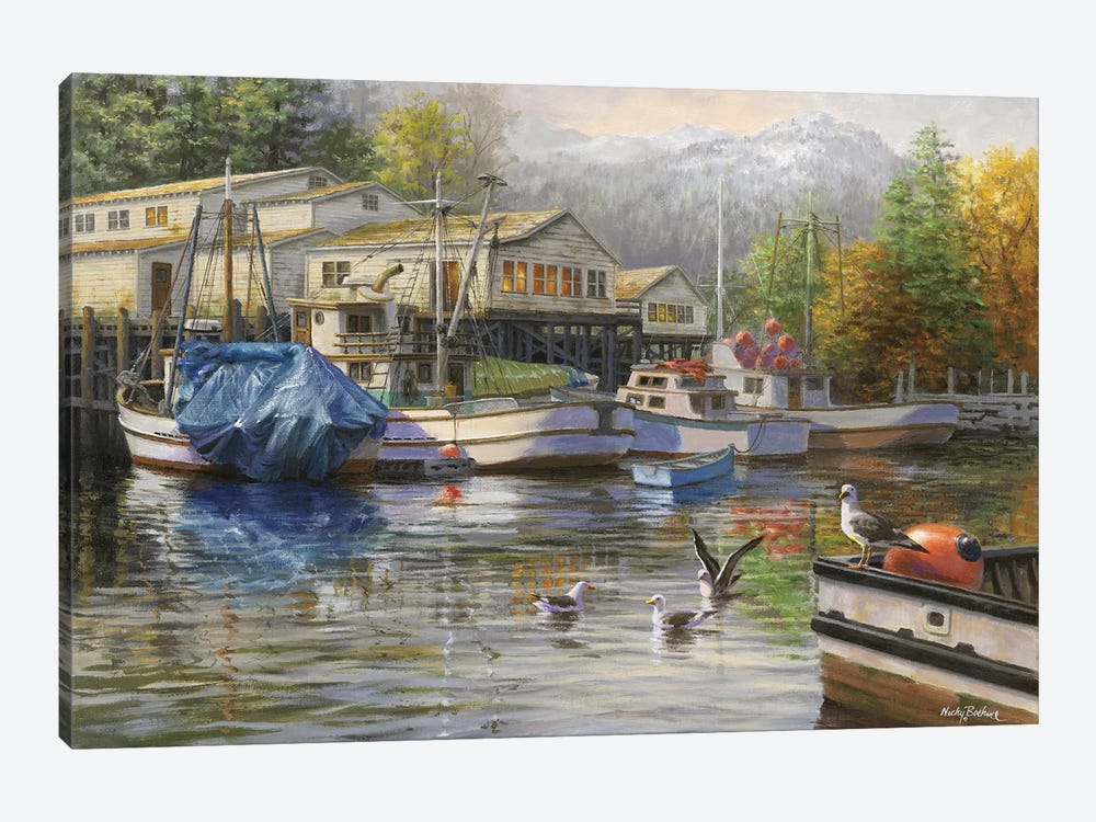 Gulls At The Marina by Nicky Boehme 1-piece Canvas Wall Art