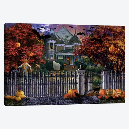 Halloween House Canvas Print #BOE76} by Nicky Boehme Canvas Art