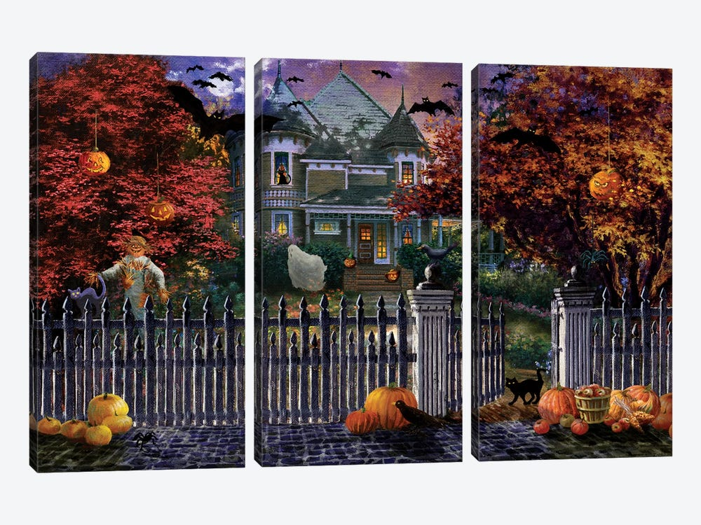 Halloween House by Nicky Boehme 3-piece Canvas Wall Art