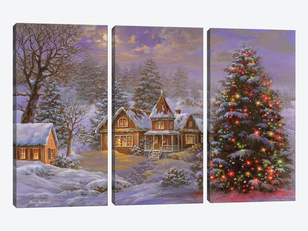 Happy Holidays by Nicky Boehme 3-piece Canvas Print