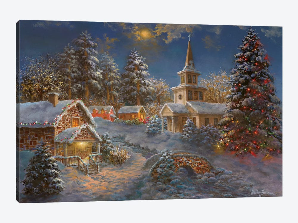 Happy Spirits Await Christmas by Nicky Boehme 1-piece Canvas Wall Art