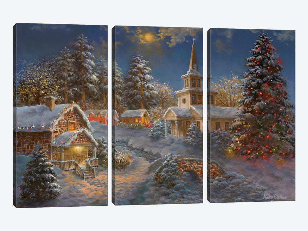 Happy Spirits Await Christmas by Nicky Boehme 3-piece Canvas Wall Art