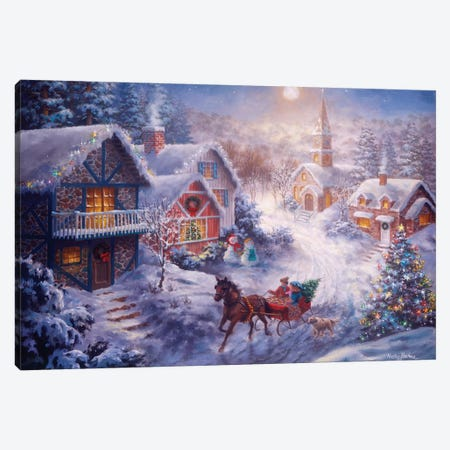 In A One Horse Open Sleigh Canvas Print #BOE89} by Nicky Boehme Canvas Wall Art
