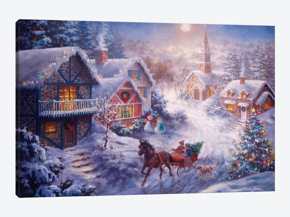 In A One Horse Open Sleigh by Nicky Boehme 1-piece Canvas Wall Art
