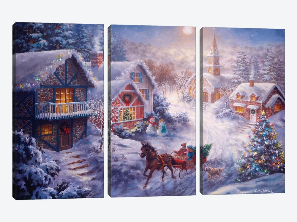 In A One Horse Open Sleigh by Nicky Boehme 3-piece Canvas Wall Art