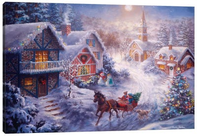 In A One Horse Open Sleigh Canvas Art Print