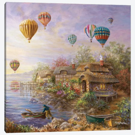 Air Balloons Over Cottageville Canvas Print #BOE8} by Nicky Boehme Canvas Wall Art