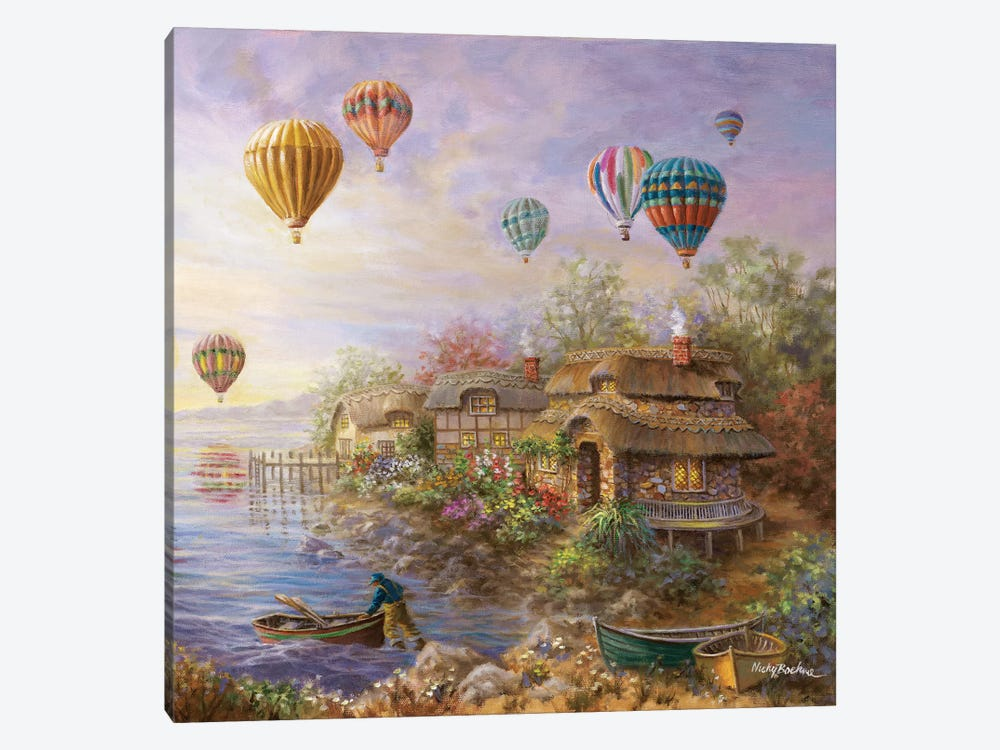 Air Balloons Over Cottageville by Nicky Boehme 1-piece Canvas Wall Art