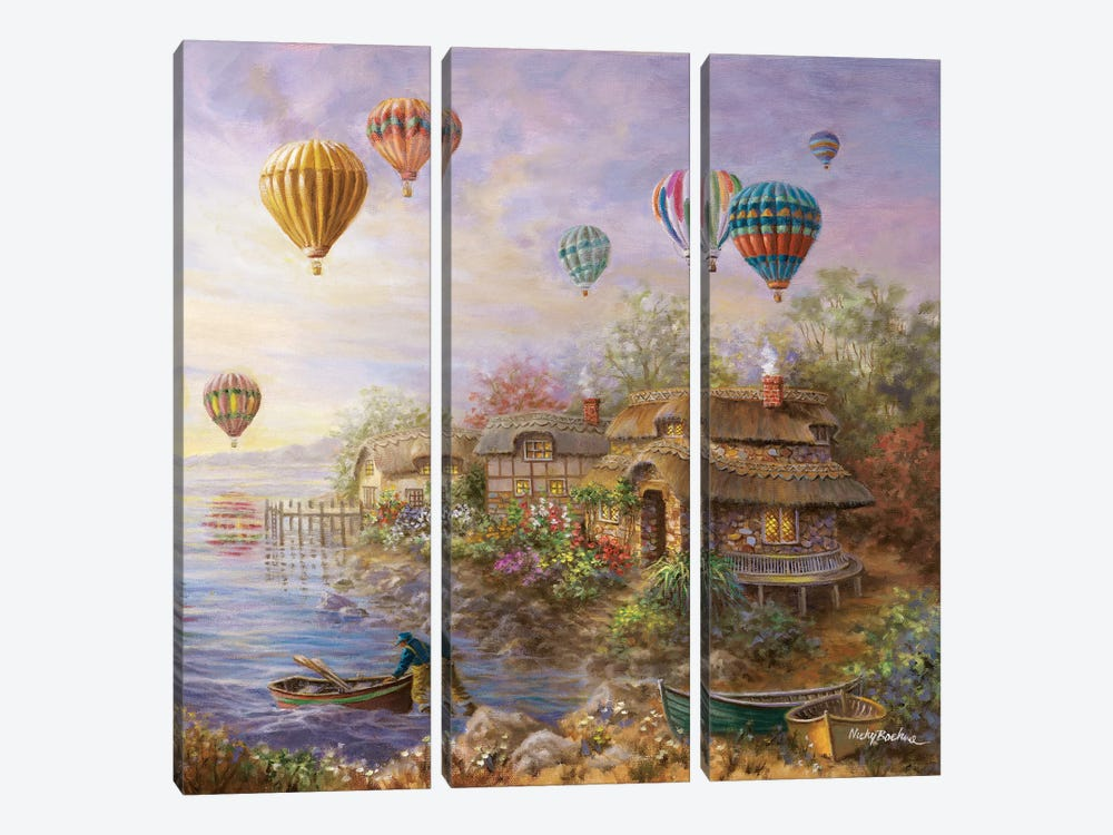 Air Balloons Over Cottageville by Nicky Boehme 3-piece Canvas Art