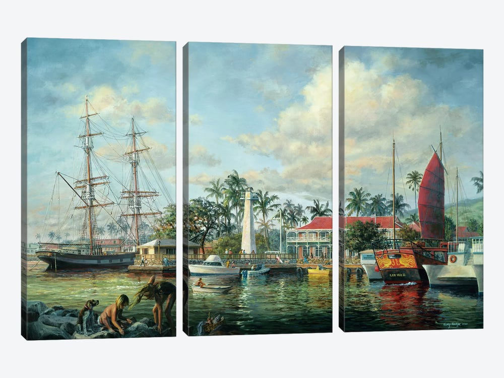 Lahaina Waterfront, Maui by Nicky Boehme 3-piece Canvas Print