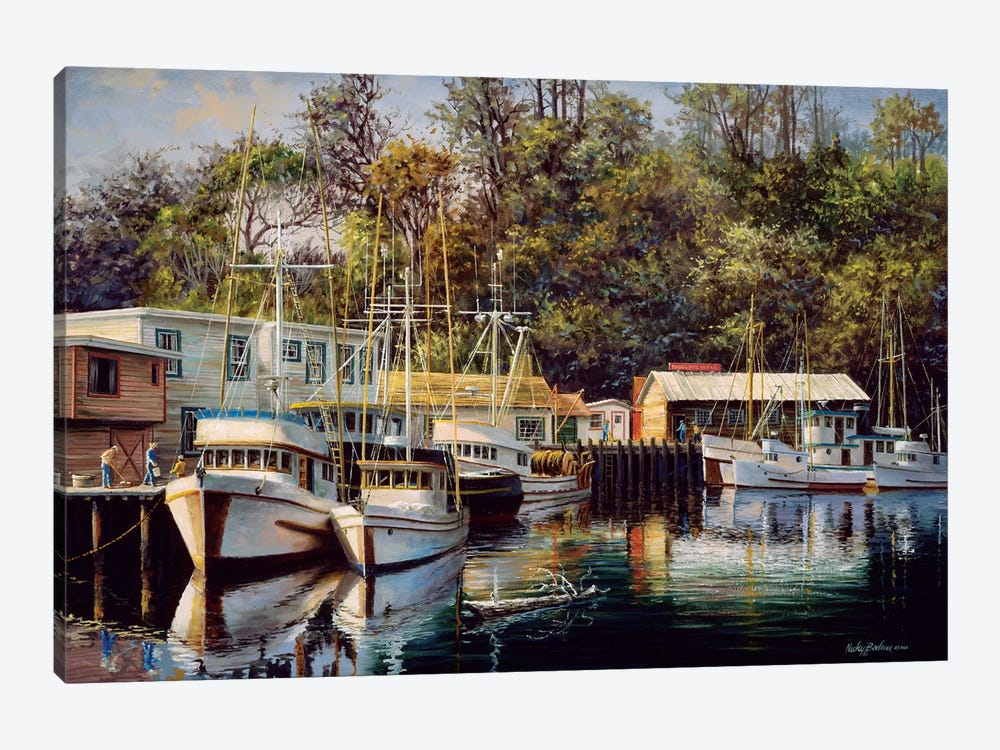 Let's Go Fishing by Nicky Boehme 1-piece Art Print