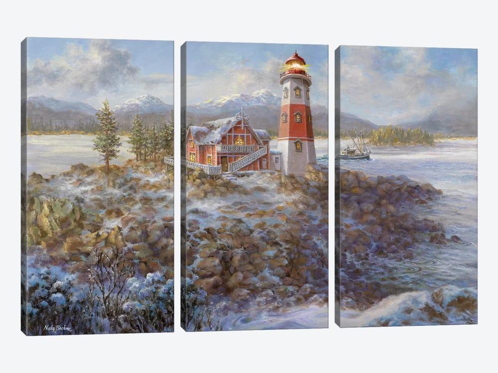 Lighthouse Bluff by Nicky Boehme 3-piece Canvas Artwork
