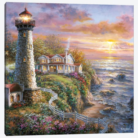 Lighthouse Haven I Canvas Print #BOE97} by Nicky Boehme Canvas Artwork