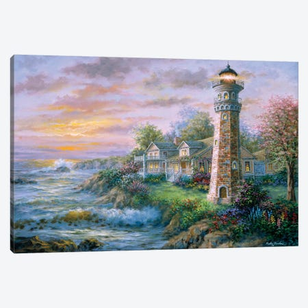 Lighthouse Haven II Canvas Print #BOE98} by Nicky Boehme Canvas Print