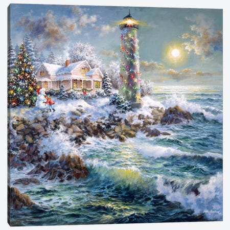Lighthouse Merriment Canvas Print #BOE99} by Nicky Boehme Art Print