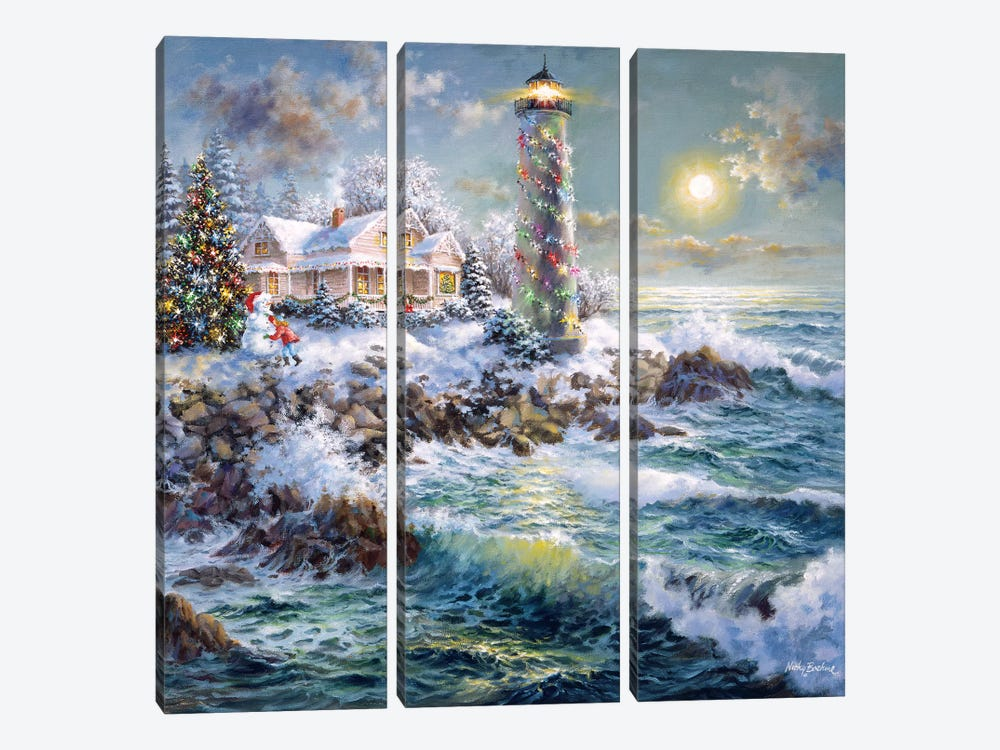 Lighthouse Merriment 3-piece Canvas Art Print